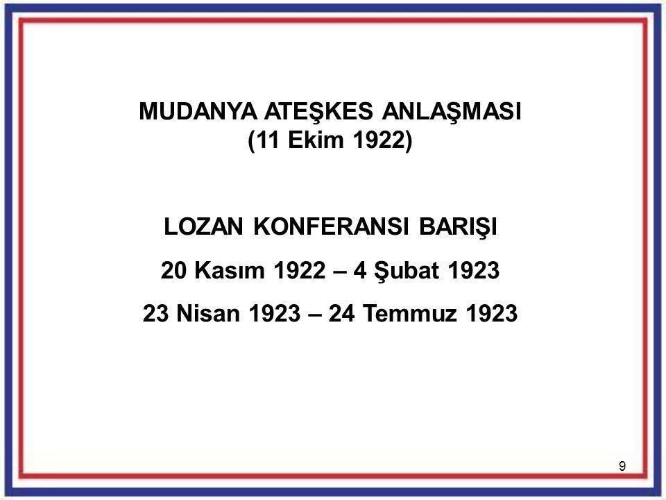 MUDANYA ATEŞKES ANLAŞMASI (11 Ekim 1922) LOZAN KONFERANSI BARIŞI