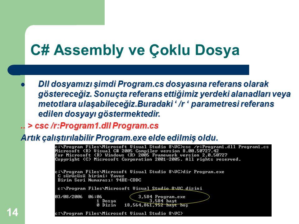 C# Assembly ve Çoklu Dosya