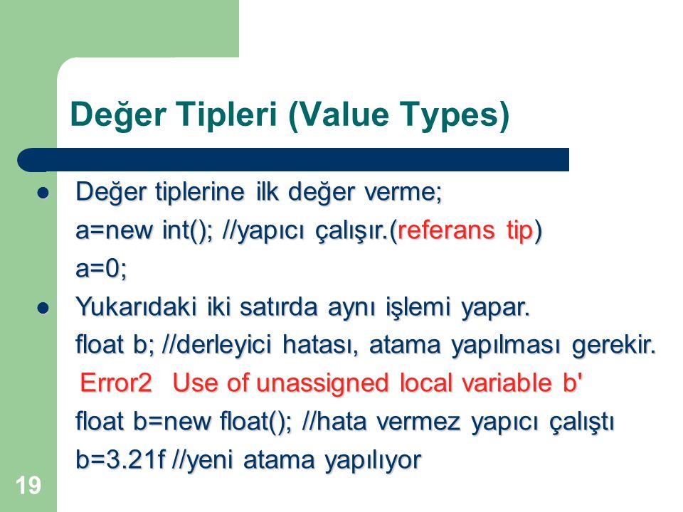 Değer Tipleri (Value Types)