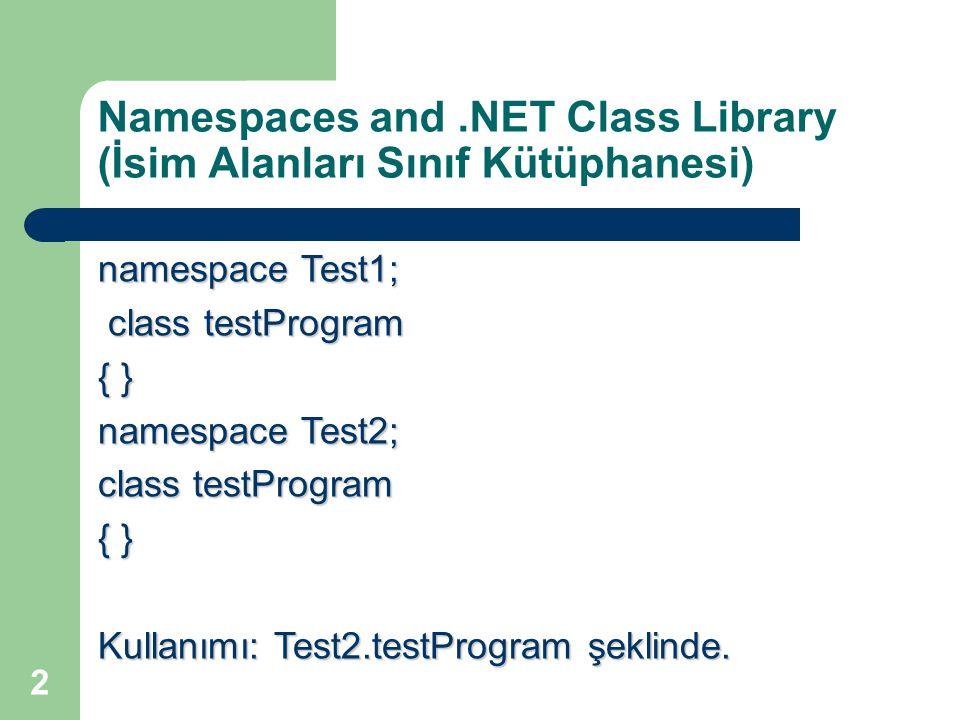 Namespaces and .NET Class Library (İsim Alanları Sınıf Kütüphanesi)