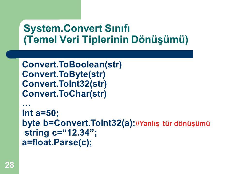 System.Convert Sınıfı (Temel Veri Tiplerinin Dönüşümü)