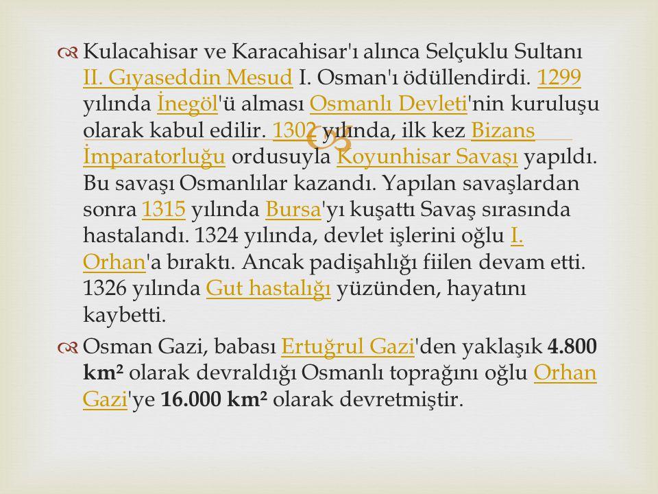 Kulacahisar ve Karacahisar ı alınca Selçuklu Sultanı II