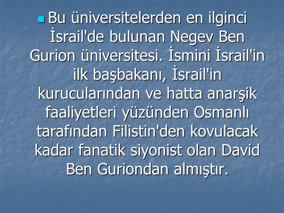 Bu üniversitelerden en ilginci İsrail de bulunan Negev Ben Gurion üniversitesi.