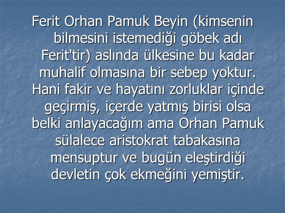 Ferit Orhan Pamuk Beyin (kimsenin bilmesini istemediği göbek adı Ferit tir) aslında ülkesine bu kadar muhalif olmasına bir sebep yoktur.