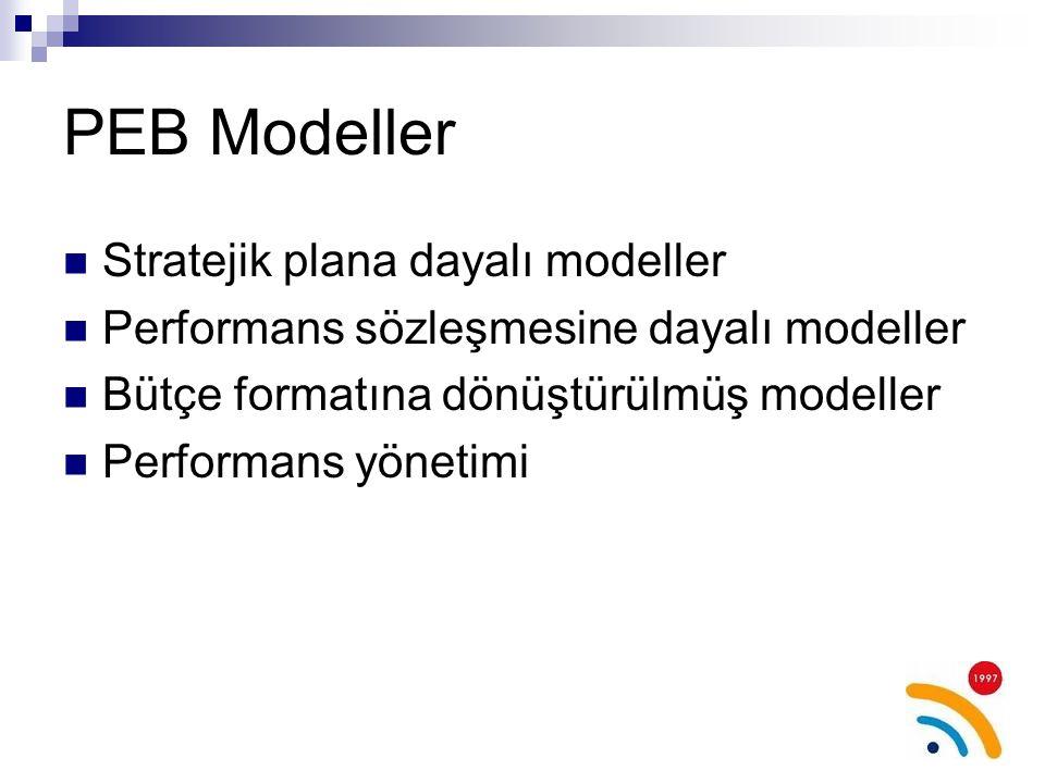 PEB Modeller Stratejik plana dayalı modeller