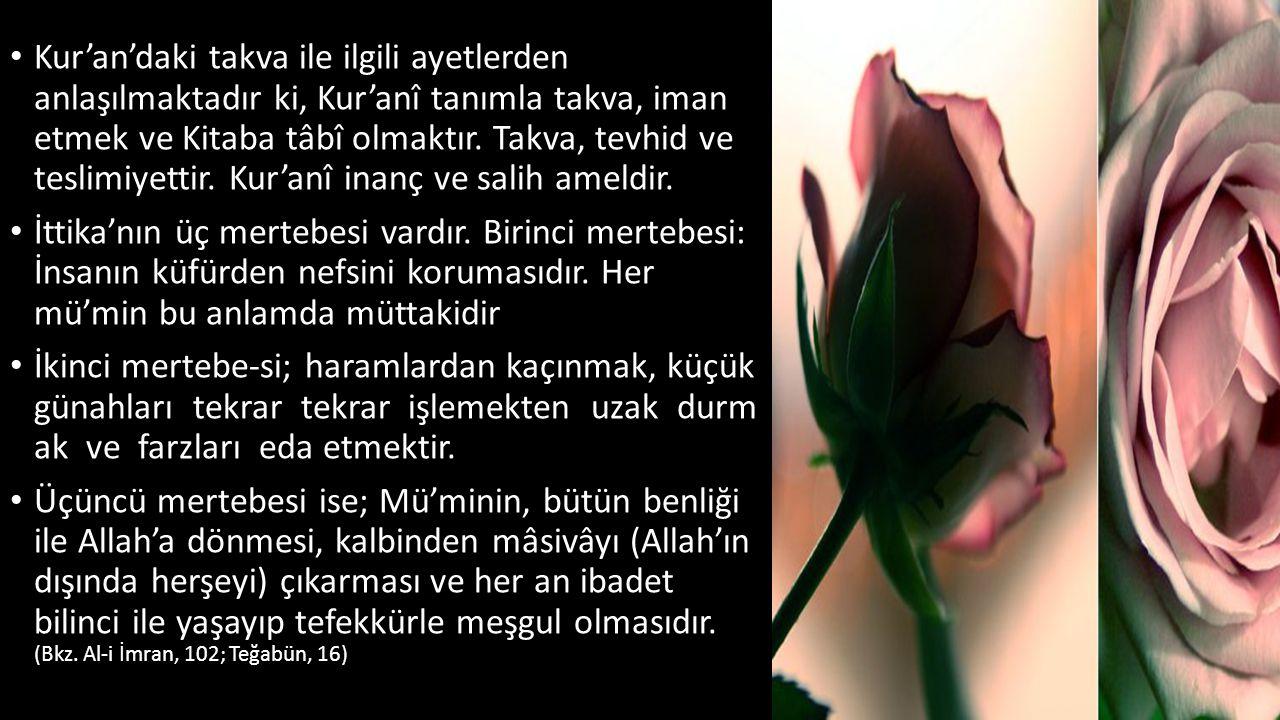 Kur'an'daki takva ile ilgili ayetlerden anlaşılmaktadır ki, Kur'anî tanımla takva, iman etmek ve Kitaba tâbî olmaktır. Takva, tevhid ve teslimiyettir. Kur'anî inanç ve salih ameldir.