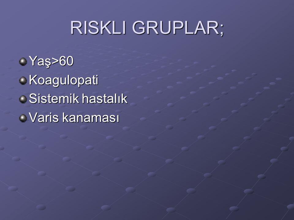 RISKLI GRUPLAR; Yaş>60 Koagulopati Sistemik hastalık Varis kanaması