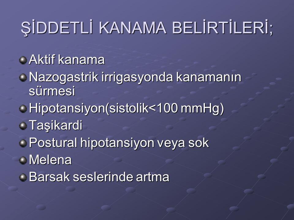 ŞİDDETLİ KANAMA BELİRTİLERİ;