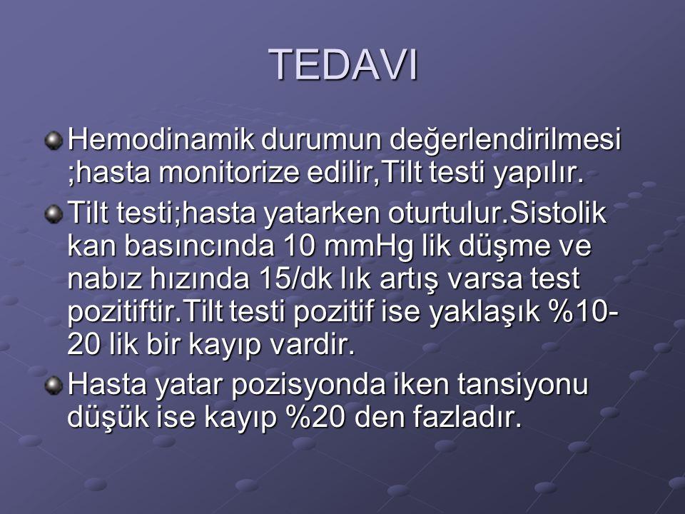 TEDAVI Hemodinamik durumun değerlendirilmesi ;hasta monitorize edilir,Tilt testi yapılır.