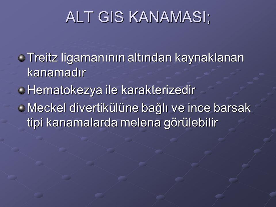 ALT GIS KANAMASI; Treitz ligamanının altından kaynaklanan kanamadır