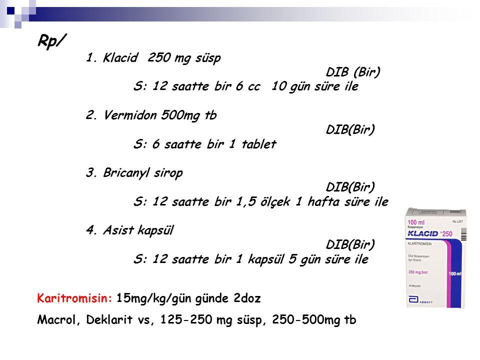 Rp/ 1. Klacid 250 mg süsp DIB (Bir)
