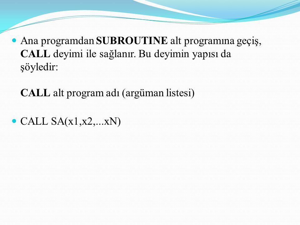 Ana programdan SUBROUTINE alt programına geçiş, CALL deyimi ile sağlanır. Bu deyimin yapısı da şöyledir: CALL alt program adı (argüman listesi)