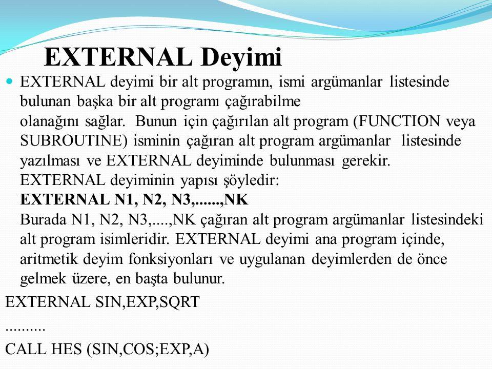 EXTERNAL Deyimi