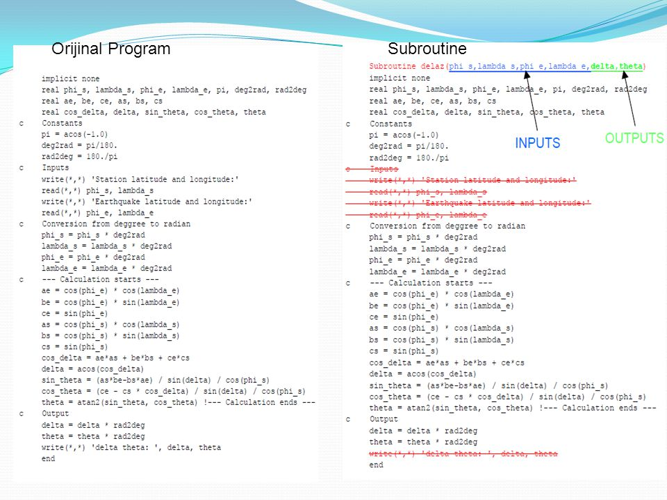 Orijinal Program Subroutine