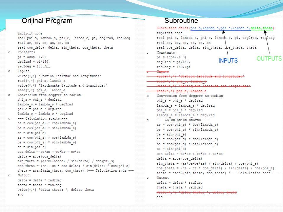 Orijinal Program Subroutine