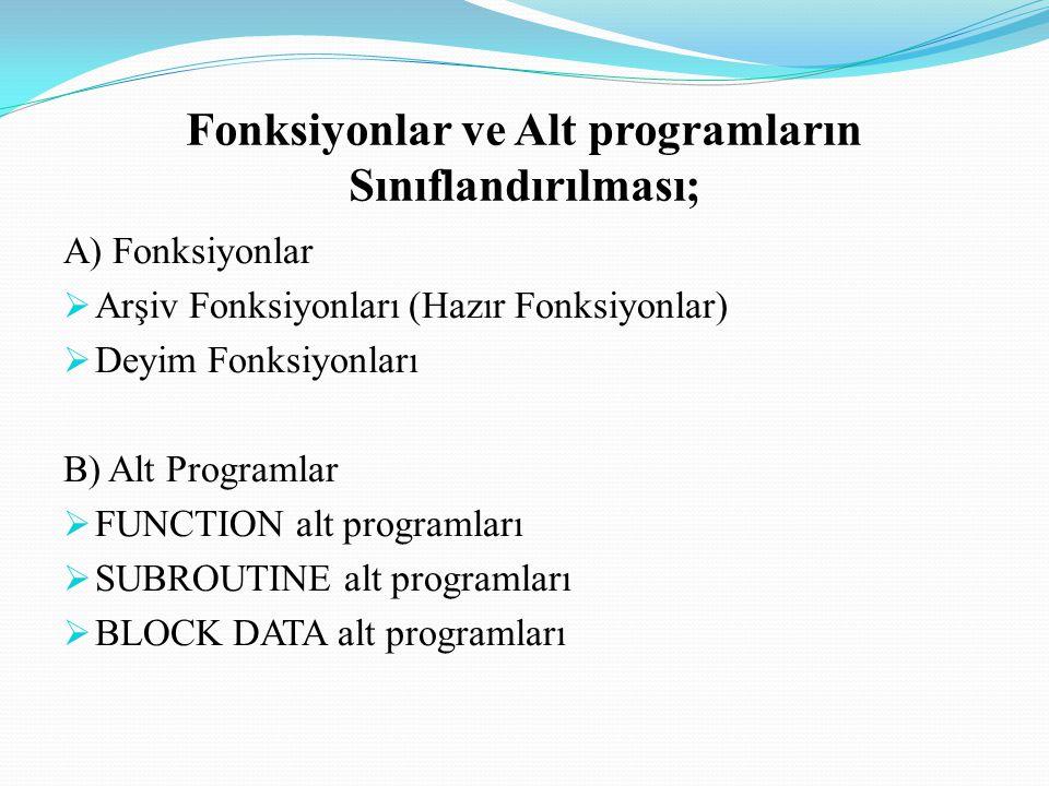 Fonksiyonlar ve Alt programların Sınıflandırılması;