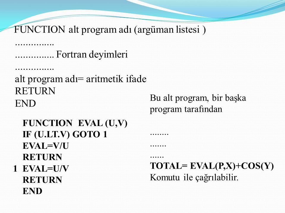 FUNCTION alt program adı (argüman listesi ). Fortran deyimleri