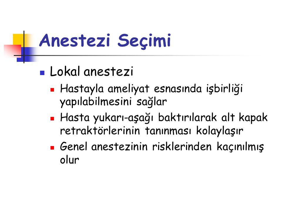 Anestezi Seçimi Lokal anestezi