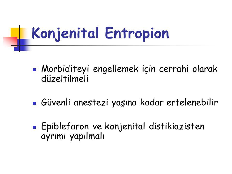 Konjenital Entropion Morbiditeyi engellemek için cerrahi olarak düzeltilmeli. Güvenli anestezi yaşına kadar ertelenebilir.