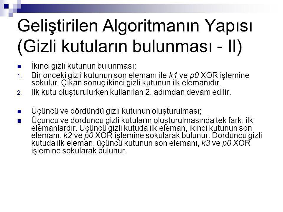 Geliştirilen Algoritmanın Yapısı (Gizli kutuların bulunması - II)