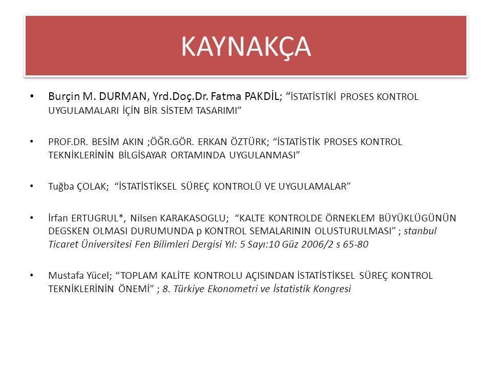KAYNAKÇA Burçin M. DURMAN, Yrd.Doç.Dr. Fatma PAKDİL; İSTATİSTİKİ PROSES KONTROL UYGULAMALARI İÇİN BİR SİSTEM TASARIMI