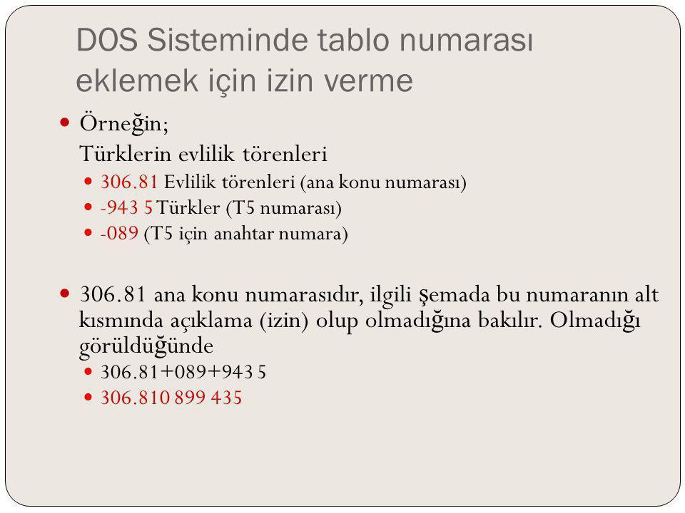 DOS Sisteminde tablo numarası eklemek için izin verme