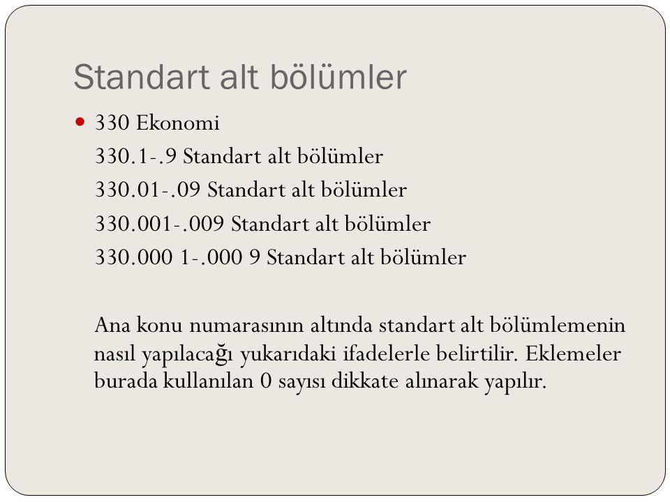 Standart alt bölümler 330 Ekonomi 330.1-.9 Standart alt bölümler