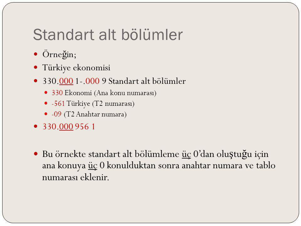 Standart alt bölümler Örneğin; Türkiye ekonomisi. 330.000 1-.000 9 Standart alt bölümler. 330 Ekonomi (Ana konu numarası)