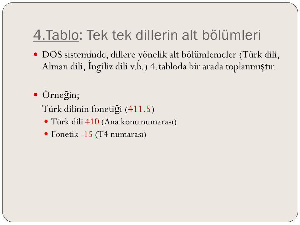 4.Tablo: Tek tek dillerin alt bölümleri