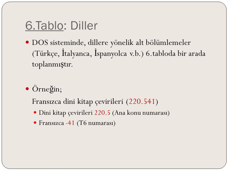 6.Tablo: Diller DOS sisteminde, dillere yönelik alt bölümlemeler (Türkçe, İtalyanca, İspanyolca v.b.) 6.tabloda bir arada toplanmıştır.
