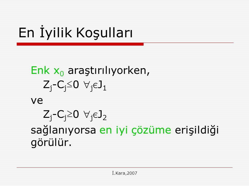 En İyilik Koşulları Enk x0 araştırılıyorken, Zj-Cj≤0 jЄJ1 ve