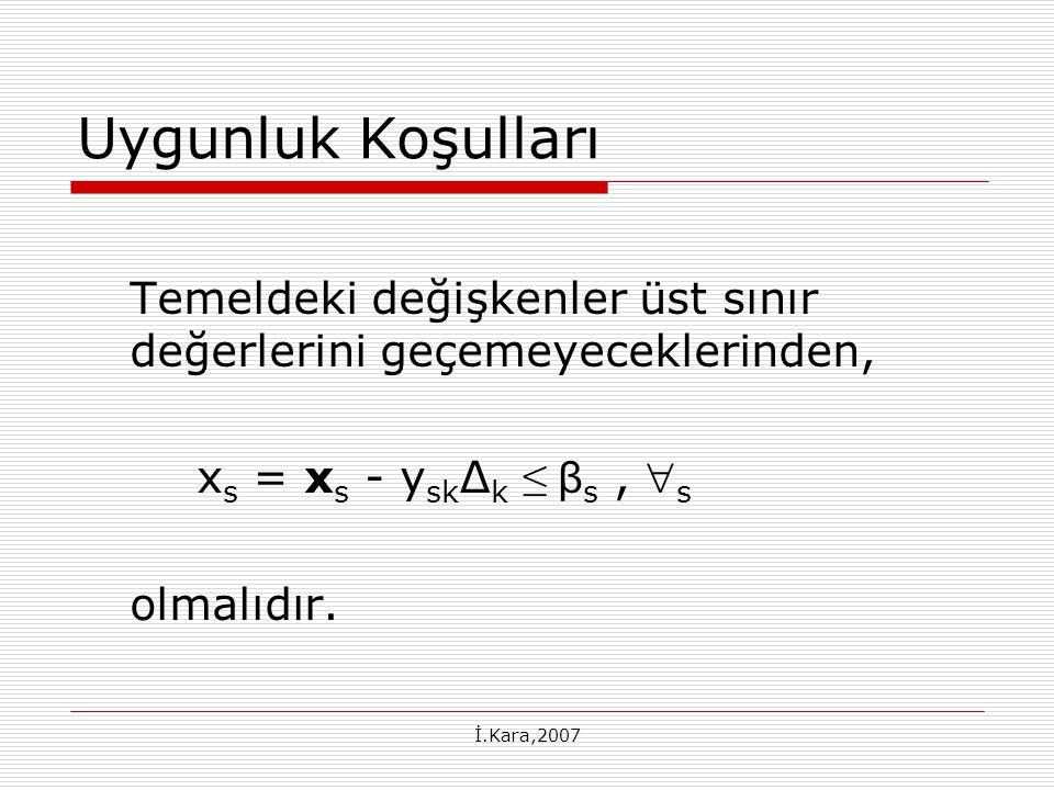 Uygunluk Koşulları Temeldeki değişkenler üst sınır değerlerini geçemeyeceklerinden, xs = xs - ysk∆k ≤ βs , s.
