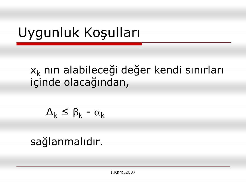 Uygunluk Koşulları xk nın alabileceği değer kendi sınırları içinde olacağından, ∆k ≤ βk - k. sağlanmalıdır.