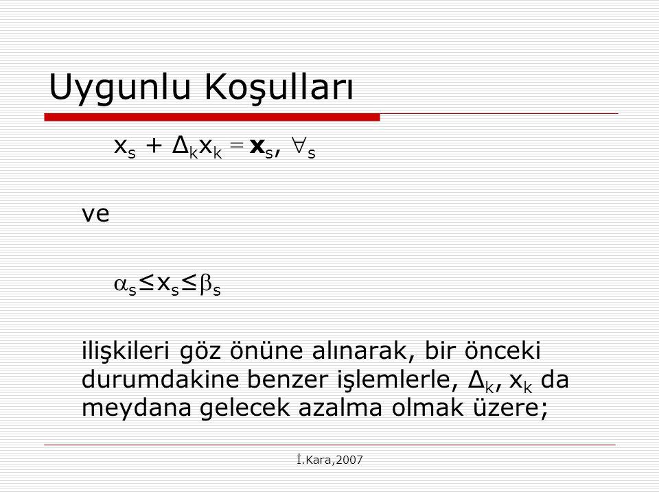 Uygunlu Koşulları xs + ∆kxk = xs, s ve s≤xs≤s