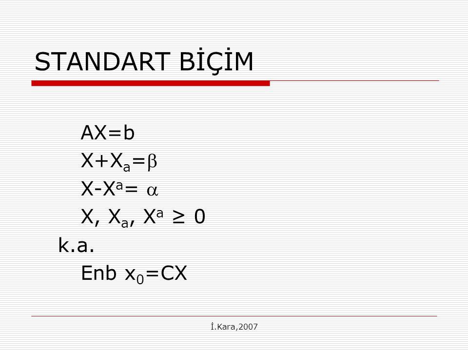 STANDART BİÇİM AX=b X+Xa= X-Xa=  X, Xa, Xa ≥ 0 k.a. Enb x0=CX