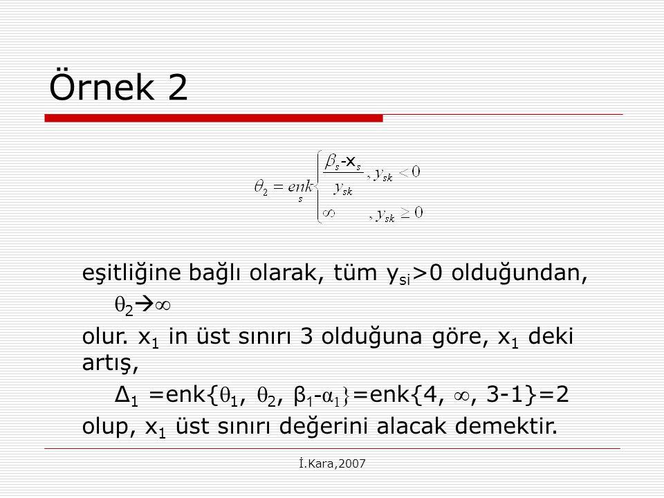 Örnek 2 eşitliğine bağlı olarak, tüm ysi>0 olduğundan, 2