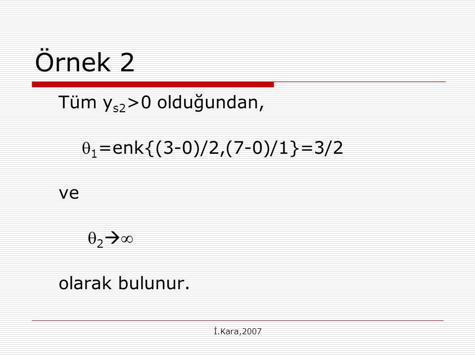 Örnek 2 Tüm ys2>0 olduğundan, 1=enk{(3-0)/2,(7-0)/1}=3/2 ve 2