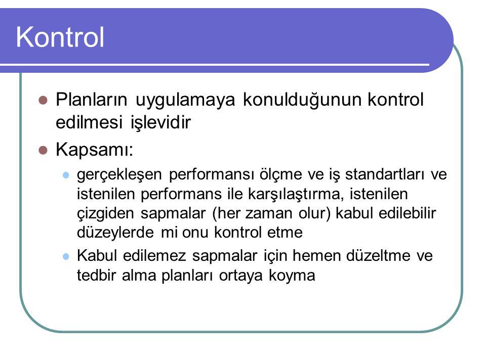 Kontrol Planların uygulamaya konulduğunun kontrol edilmesi işlevidir