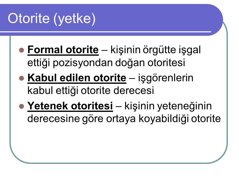 Otorite (yetke) Formal otorite – kişinin örgütte işgal ettiği pozisyondan doğan otoritesi.