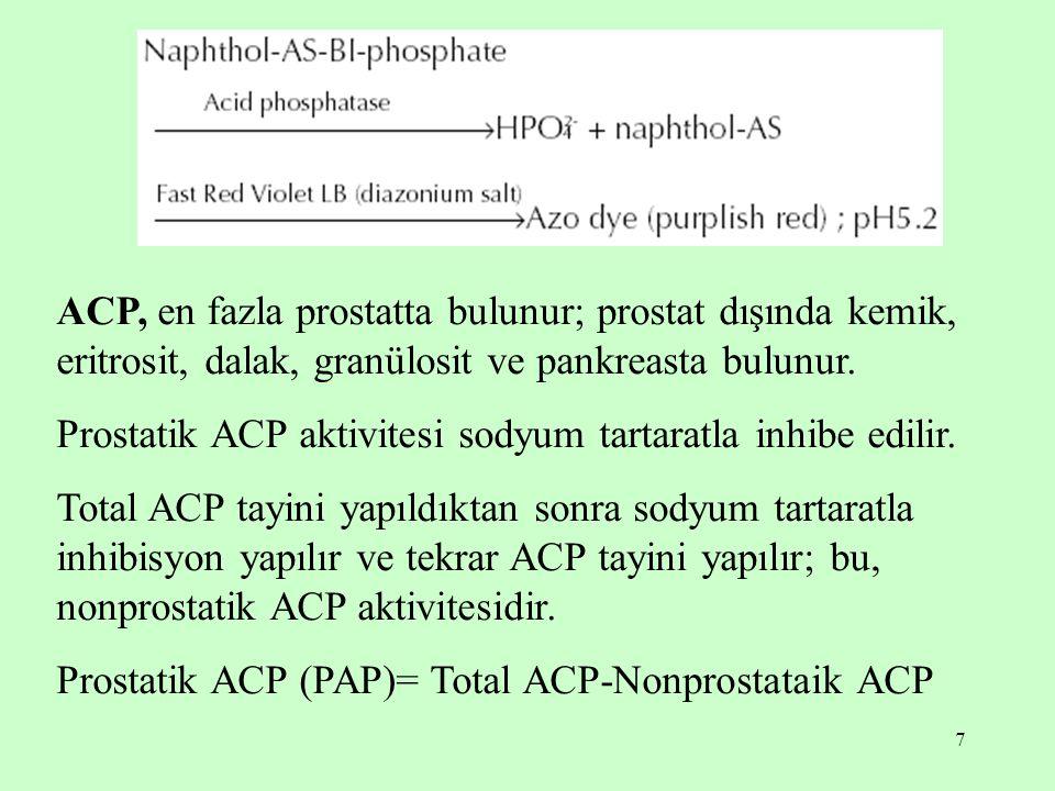 ACP, en fazla prostatta bulunur; prostat dışında kemik, eritrosit, dalak, granülosit ve pankreasta bulunur.
