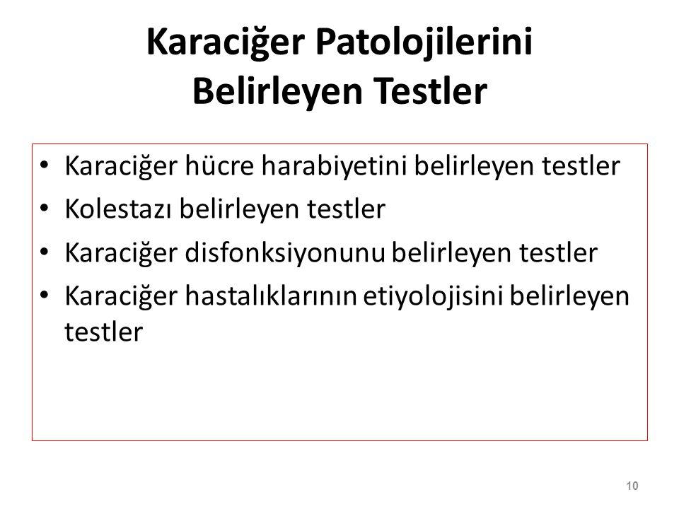 Karaciğer Patolojilerini Belirleyen Testler