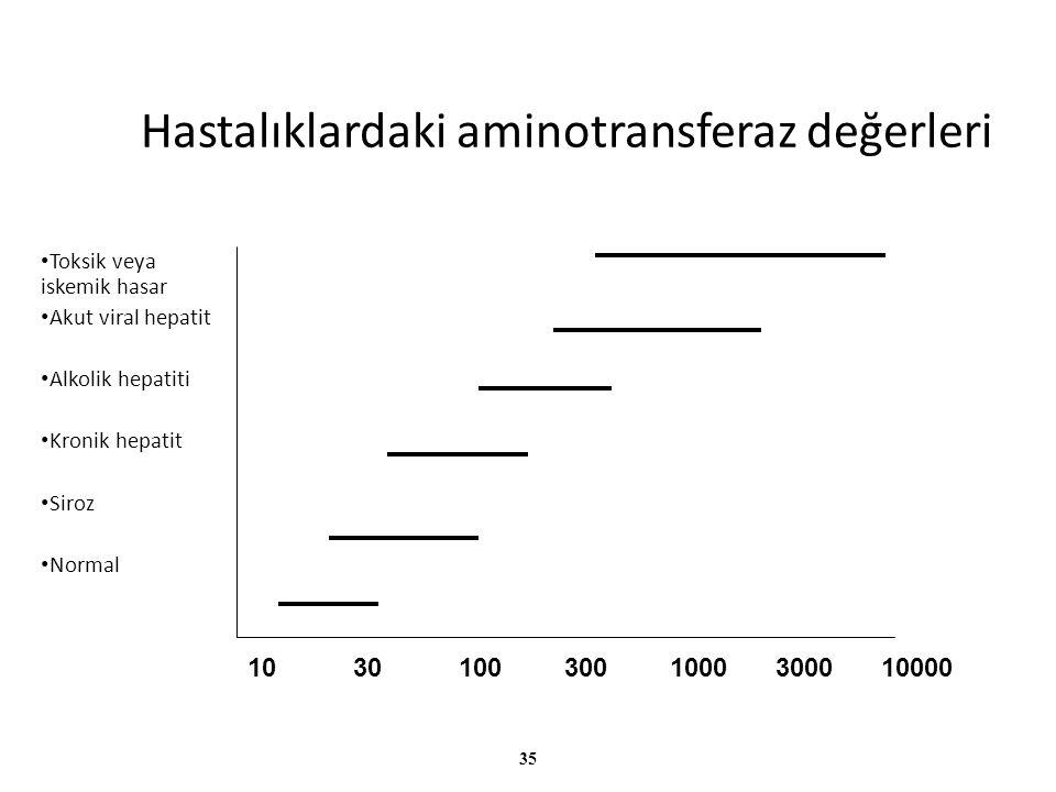 Hastalıklardaki aminotransferaz değerleri