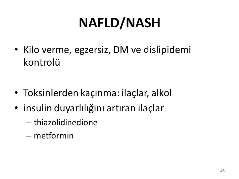 NAFLD/NASH Kilo verme, egzersiz, DM ve dislipidemi kontrolü