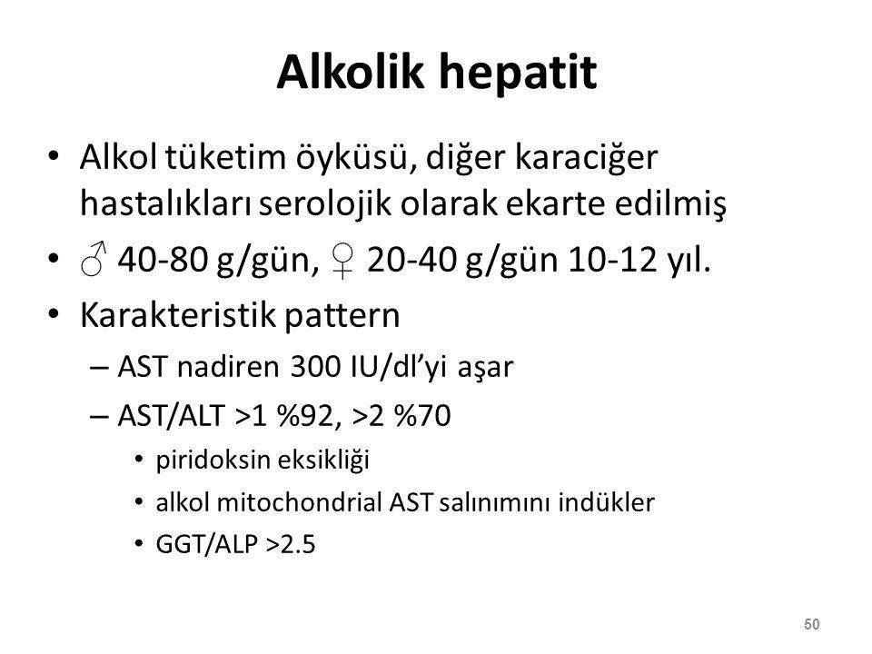 Alkolik hepatit Alkol tüketim öyküsü, diğer karaciğer hastalıkları serolojik olarak ekarte edilmiş.