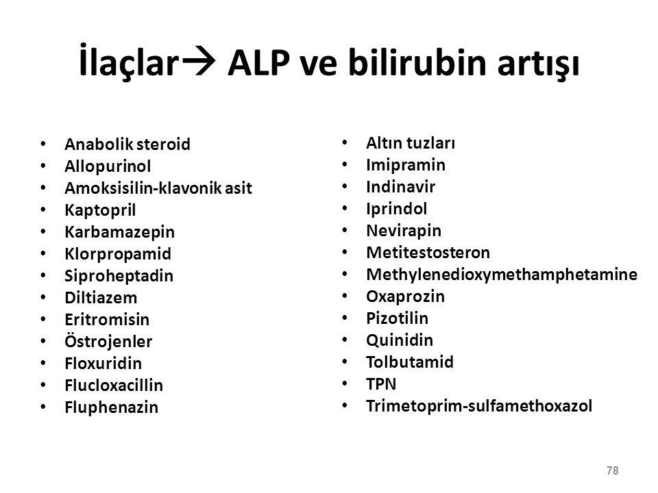 İlaçlar ALP ve bilirubin artışı
