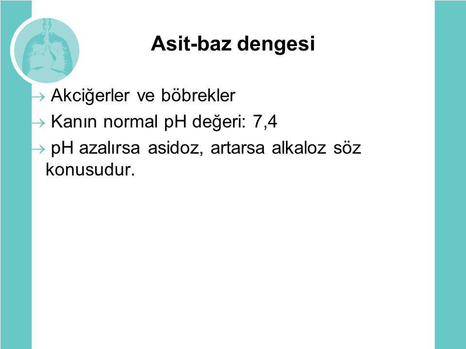 Asit-baz dengesi Akciğerler ve böbrekler Kanın normal pH değeri: 7,4
