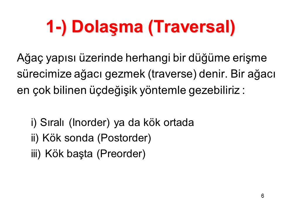1-) Dolaşma (Traversal)