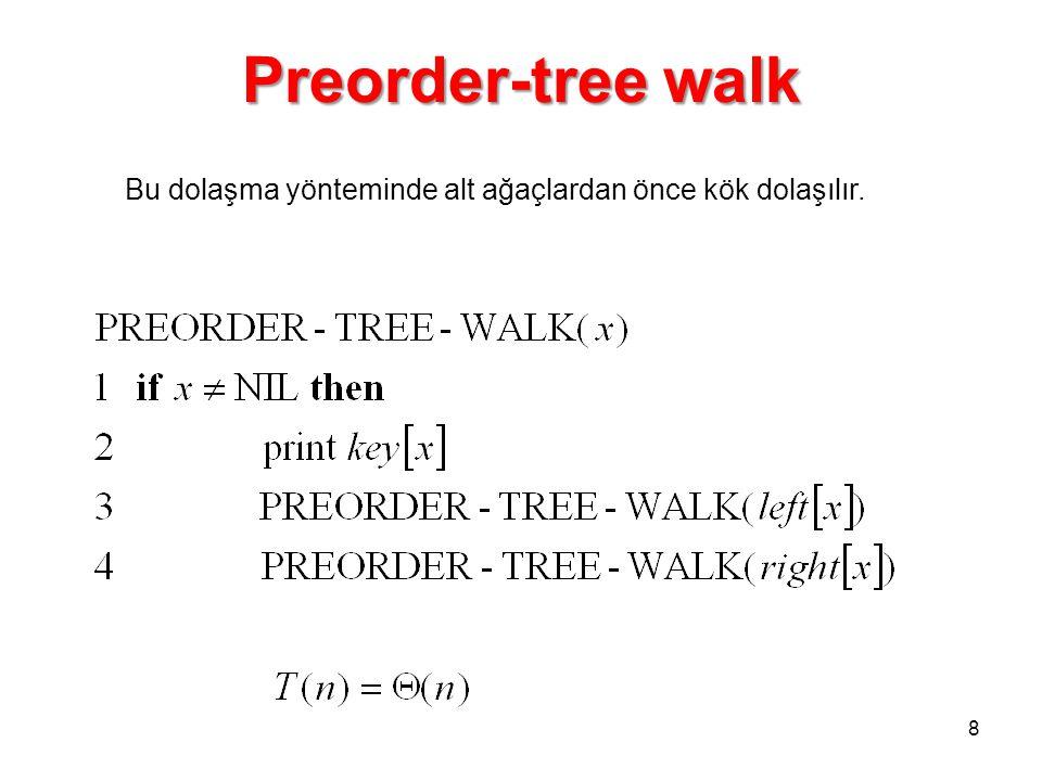 Preorder-tree walk Bu dolaşma yönteminde alt ağaçlardan önce kök dolaşılır.