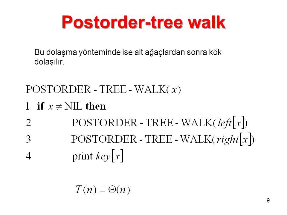 Postorder-tree walk Bu dolaşma yönteminde ise alt ağaçlardan sonra kök dolaşılır.