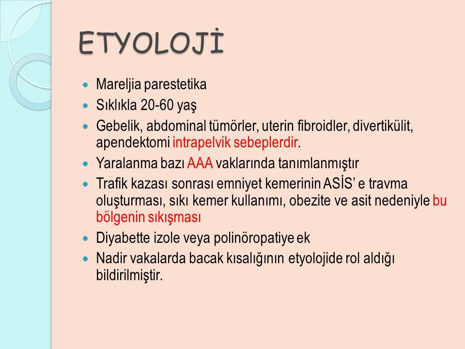 ETYOLOJİ Mareljia parestetika Sıklıkla 20-60 yaş